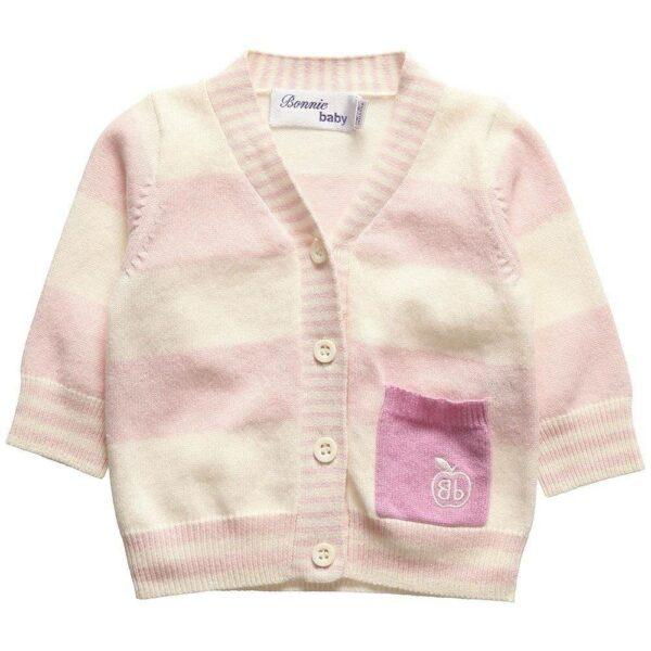 Bonnie Baby Baby Girls Pink Stripe Cashmere Cardigan