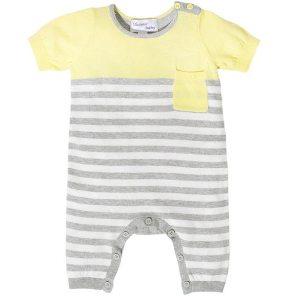 Bonnie Baby Yellow and Grey Knitted Cotton Romper