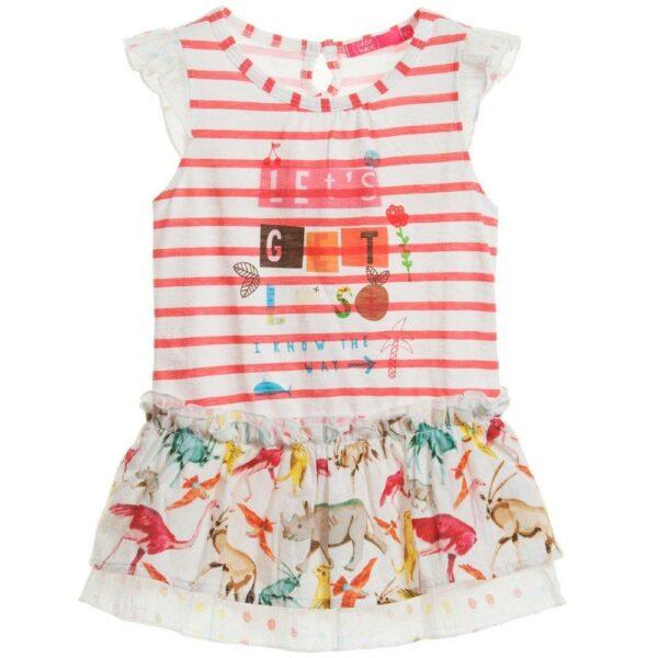 Cakewalk White & Red Stripe Dress with Ruffle Skirt