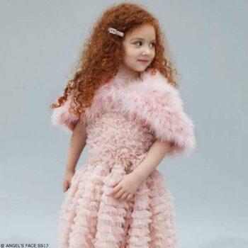 Angel's Face Girls Chiffon Frill Dress in Grey-Beige