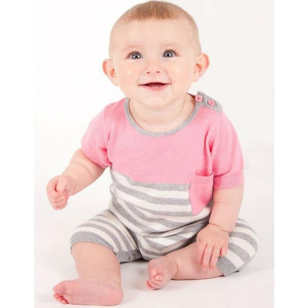 Bonnie Baby Pink and Grey Knitted Cotton Romper