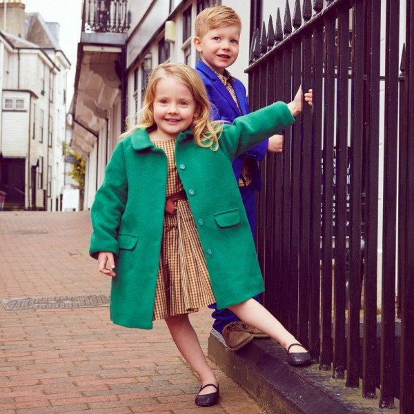 Caramel Baby & Child Girls Green Wool Coat