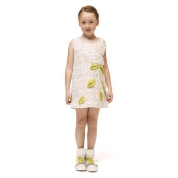 I Pinco Pallino Ivory Flower & Cat Applique Embroidered Dress