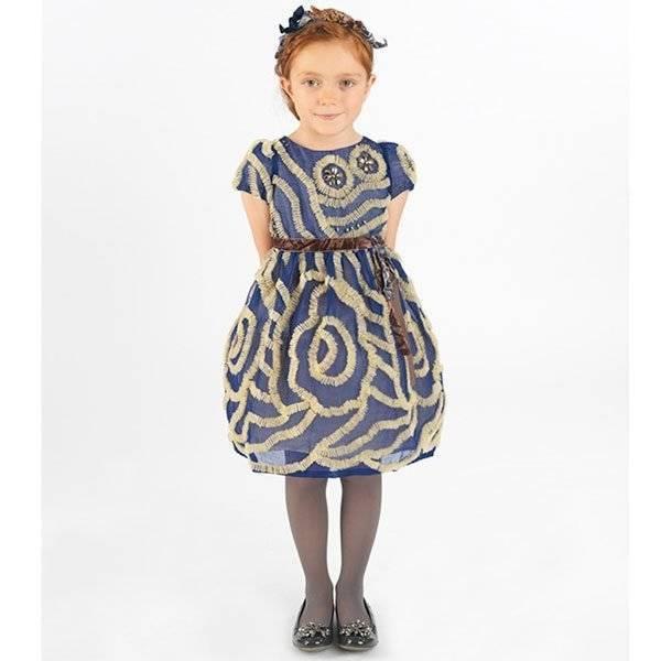 I Pinco Pallino Blue & Gold Tulle Dress