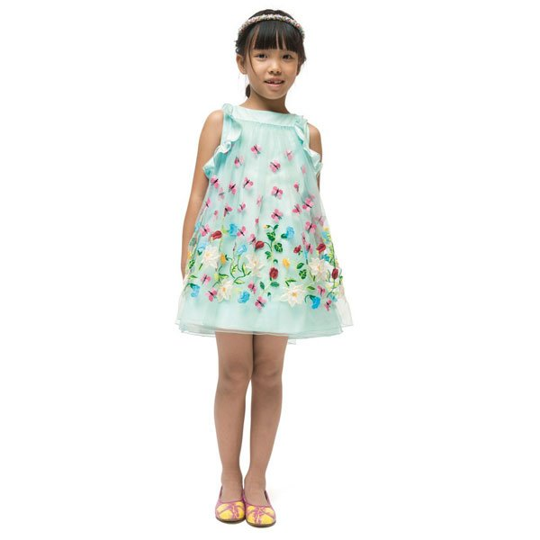 I Pinco Pallino Green Butterfly & Floral Tulle Dress