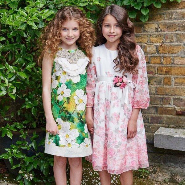 I Pinco Pallino Green & Ivory Jacquard Dress with Silk Flowerss