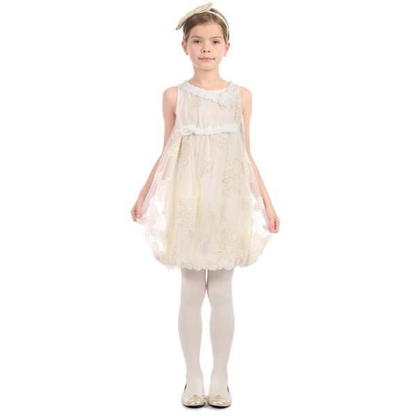 I Pinco Pallino Ivory & Gold Bubble Dress