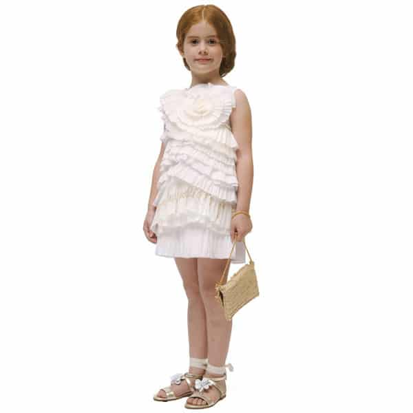 I Pinco Pallino Ivory & White Ruffle with Pleat Layer Dress