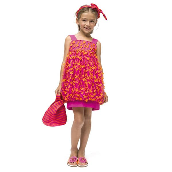 I Pinco Pallino Pink & Orange Floral Tulle Dress