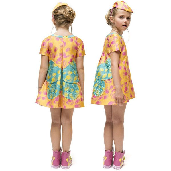 I Pinco Pallino Yellow & Pink Silk Jacquard Butterfly Dress