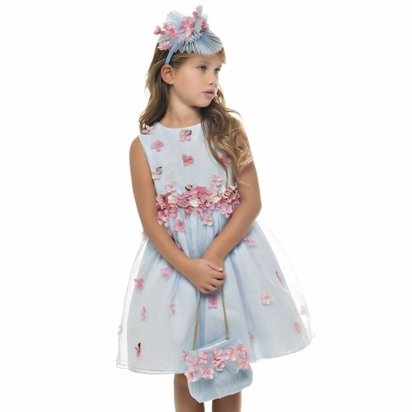 01a40ee36 Lesy Blue Silk Dress with Pink Flowers