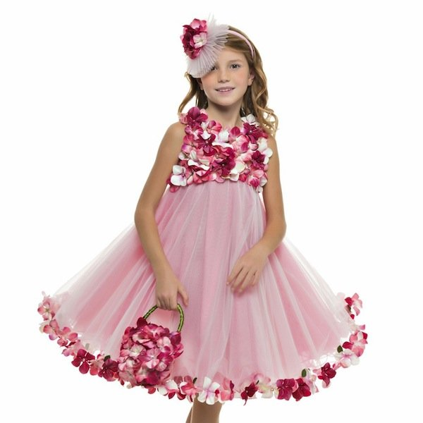 LESY LUXURY FLOWER Pink Floral Dress with Tulle Skirt
