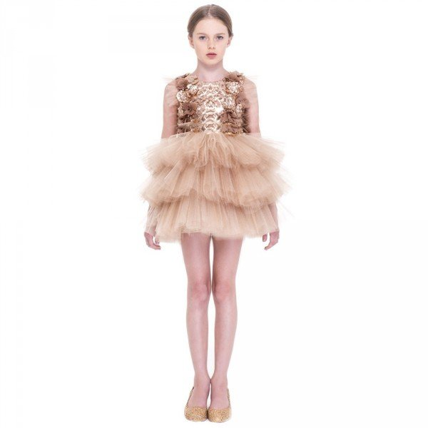 Mischka Aoki Gold Like A Princess Floral Tulle Dress
