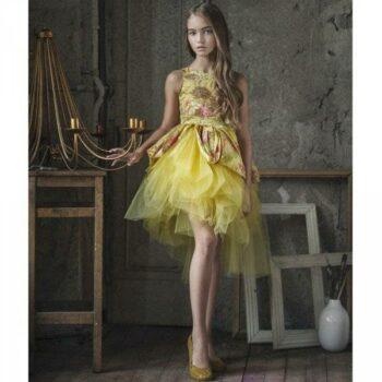 Mischka Aoki Yellow Youre Wonderful Silk Tulle Dress