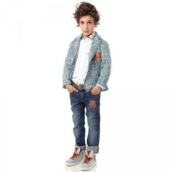 Roberto Cavalli Boys Grey Jersey Jacquard Blazer