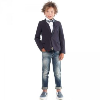 Roberto Cavalli Boys Navy Blue Cotton Blazer