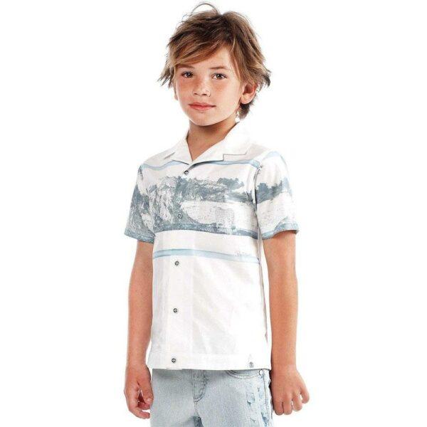 Roberto Cavalli Boys White Leopard Cotton Shirt