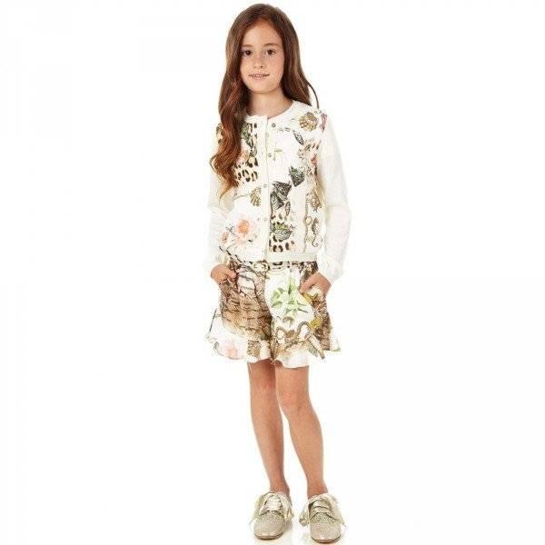 Roberto Cavalli Girls Silk Vintage Rose Leopard Shorts