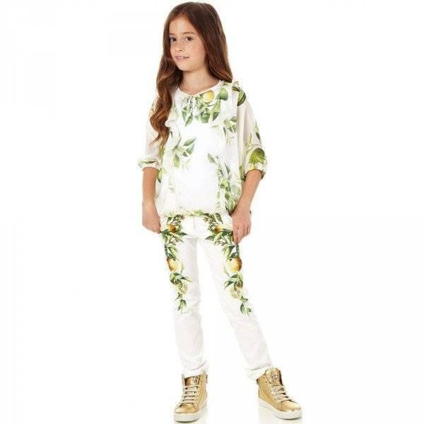Roberto Cavalli Girls Silk 'Yellow Citrus' Top & Vest