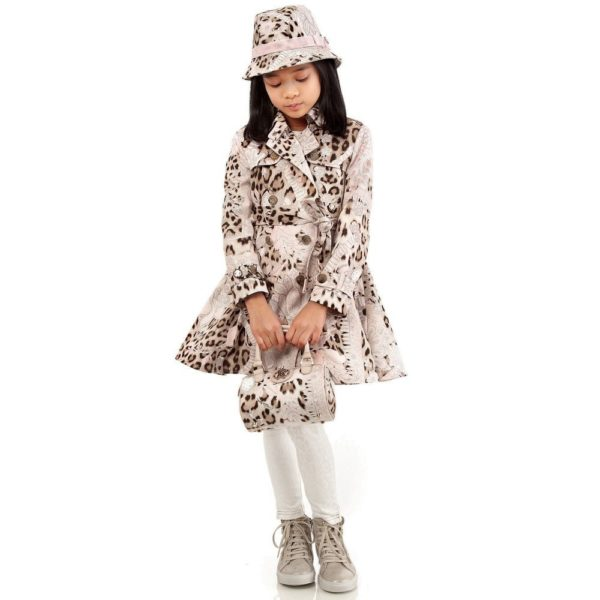 Roberto Cavalli Girls Trench Coat with Detachable Fur Lining