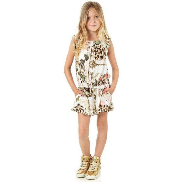 Roberto Cavalli Girls 'Vintage Rose Leopard' Jersey Playsuit
