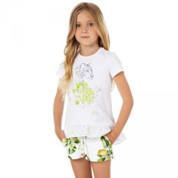 Roberto Cavalli Girls 'Yellow Citrus' Jersey Shorts