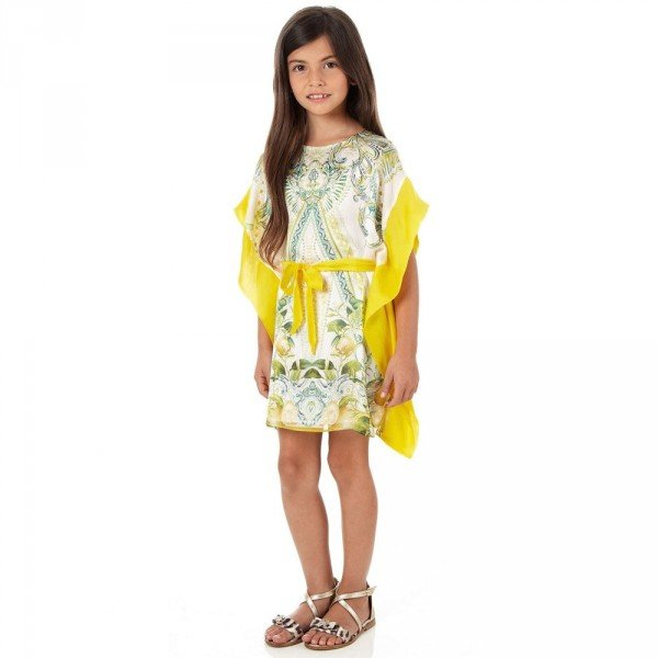 Roberto Cavalli Paisley & 'Yellow Citrus' Silk Kaftan Dress