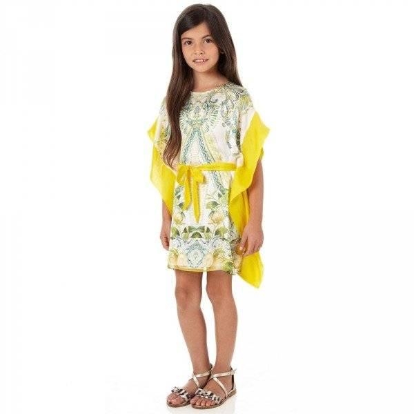 Roberto Cavalli Paisley & 'Yellow Citrus' Silk Kaftan Dress