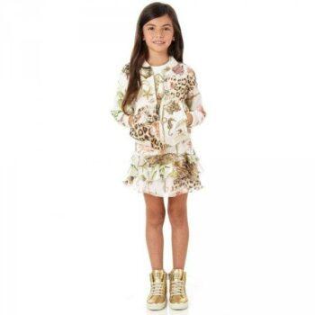 Roberto Cavalli Silk 'Vintage Rose Leopard' Skirt