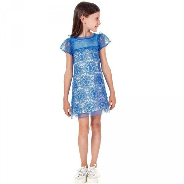 SIMONETTA Blue Floral Embroidered Dress