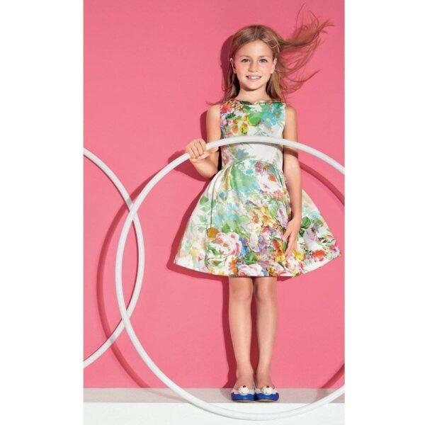 SIMONETTA Floral Print Sleeveless Dress With Collar