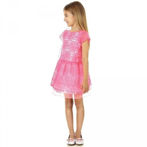 SIMONETTA Pink Floral Embroidered Dress