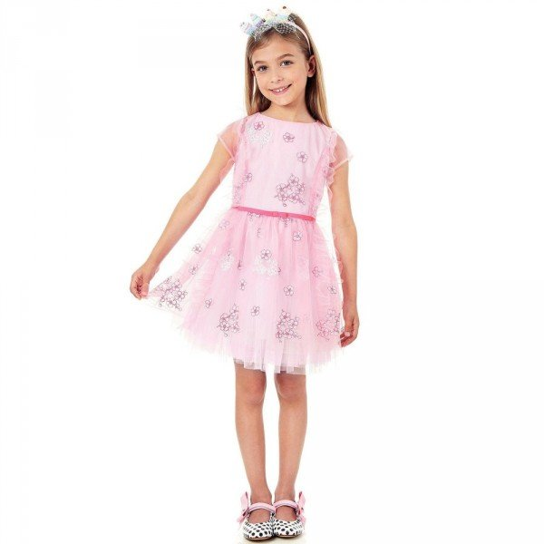 SIMONETTA Pink Tulle Dress With Floral Embroidery