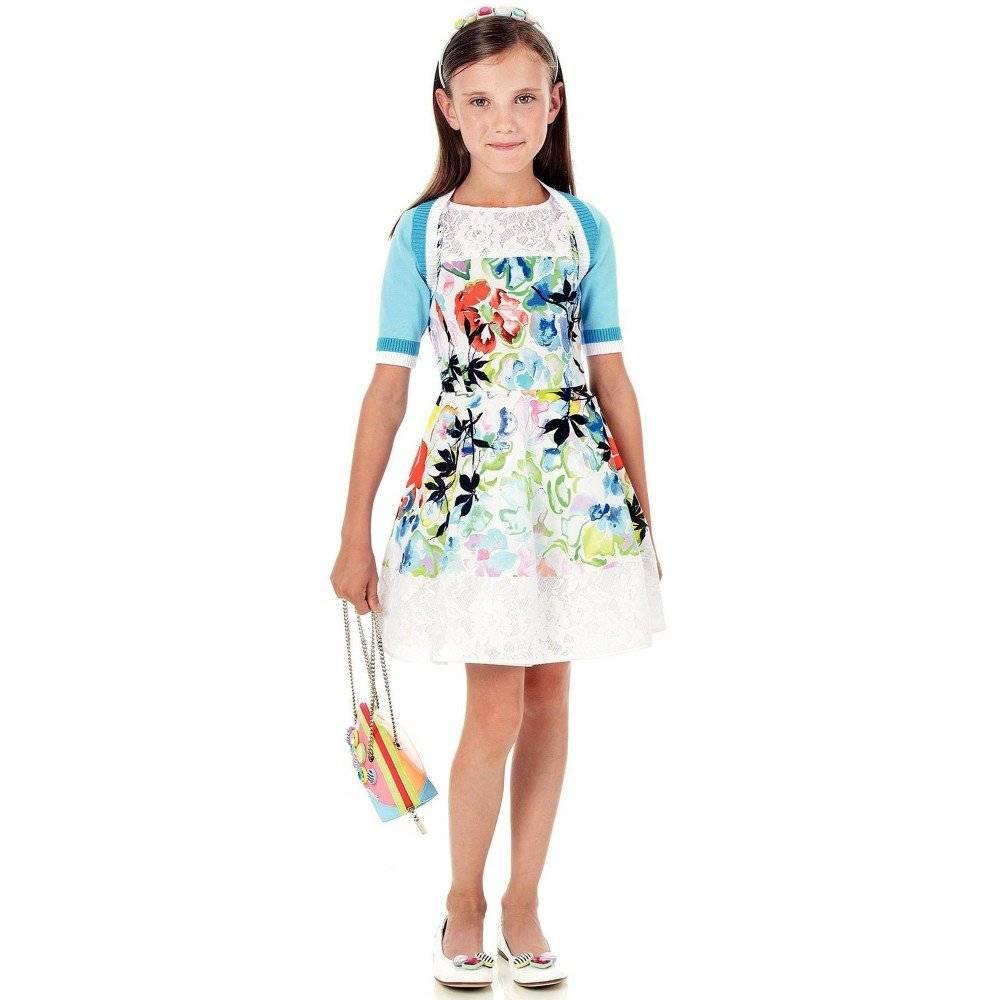 SIMONETTA Watercolour Floral Dress with Lace Trim