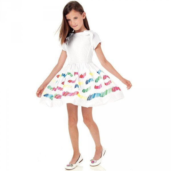 SIMONETTA White Dress With Rainbow Colour Embroidery