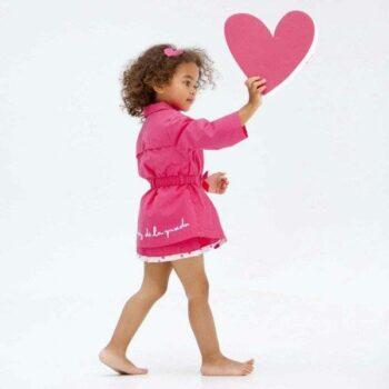 Shop Look AGATHA RUIZ DE LA PRADA Girls Pink Trench Coat with Heart Buttons