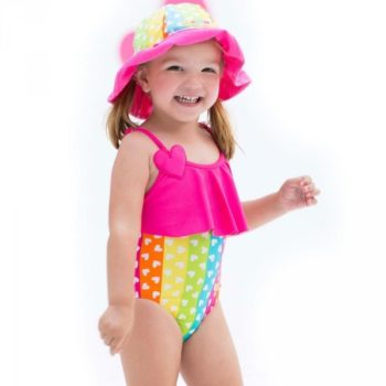 Shop Look AGATHA RUIZ DE LA PRADA Rainbow Hearts Swimsuit with Frill