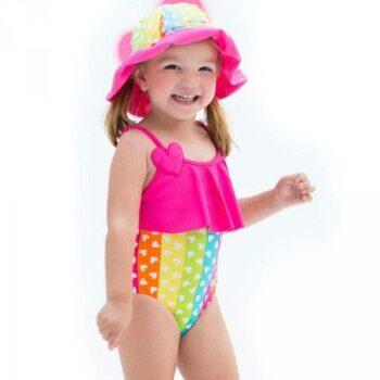Shop Look AGATHA RUIZ DE LA PRADA Rainbow Hearts Swimsuit with Frill