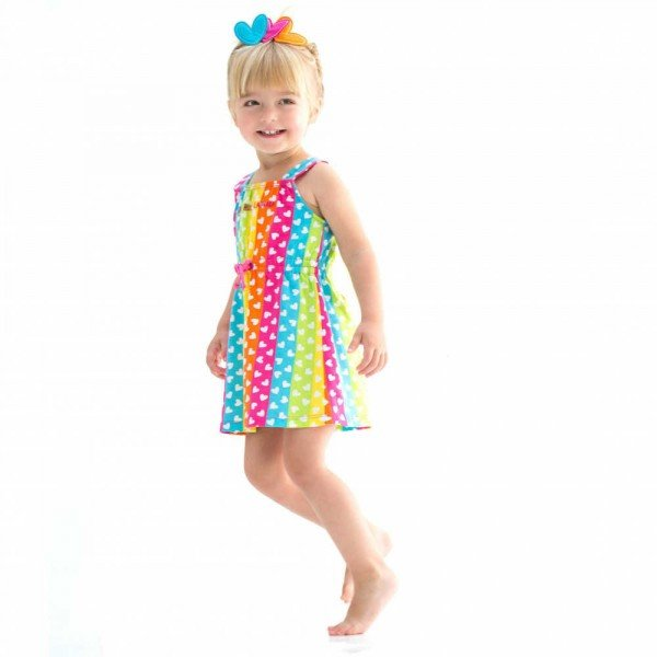Shop Look AGATHA RUIZ DE LA PRADA Rainbow Stripes & White Heart Print Dress