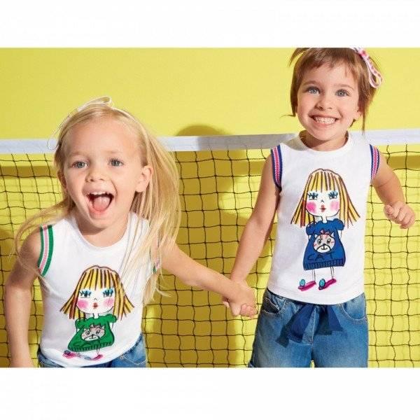 Simonetta Girls White T-Shirt with Doll Print