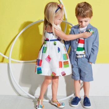 Simonetta White Dress with Colour Block Squares Print