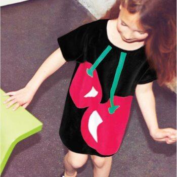 Sonia Rykiel Enfant Black Cherry Print Cotton Knitted Dress