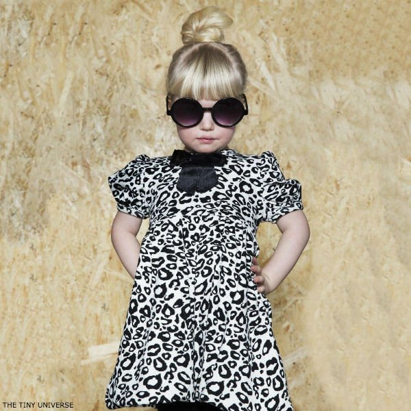 The Tiny Universe Black 'Tiny Snow Leopard' Jersey Dress