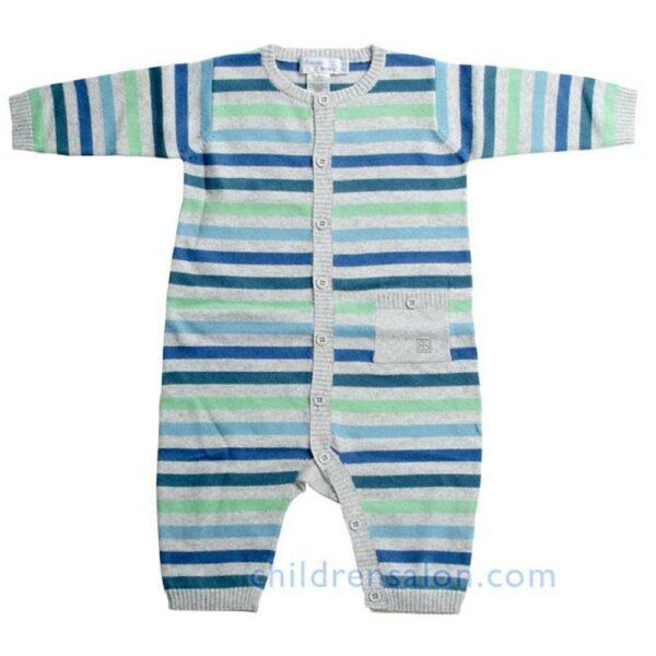 Bonnie Baby Baby Boys Blue Stripe Cashmere Romper