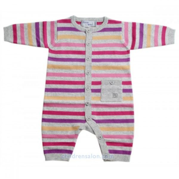 Bonnie Baby Baby Girls Pink & Grey Cashmere Blend Romper