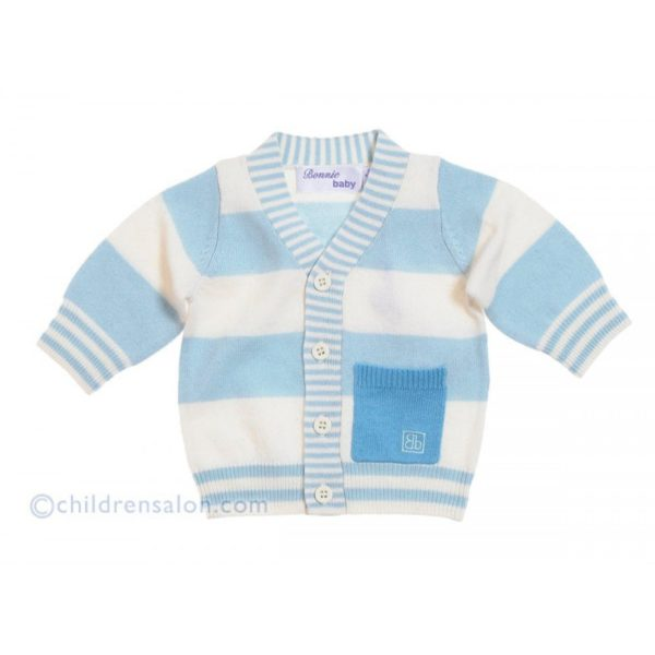 Bonnie Baby Blue Stripe Cashmere Blend Knitted Cardigan