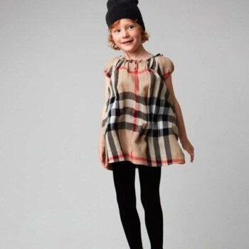 burgerry girls dress check