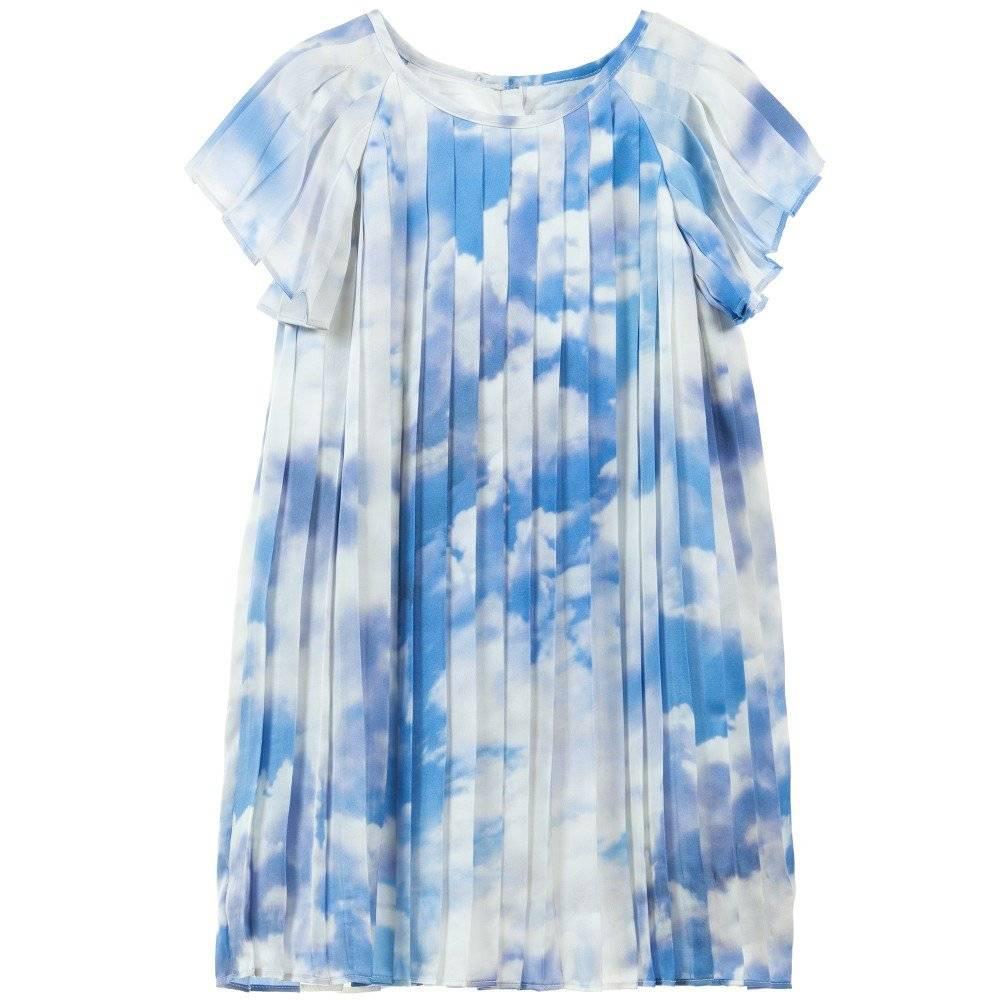 Charabia Blue Cloud Print Pleated Dress