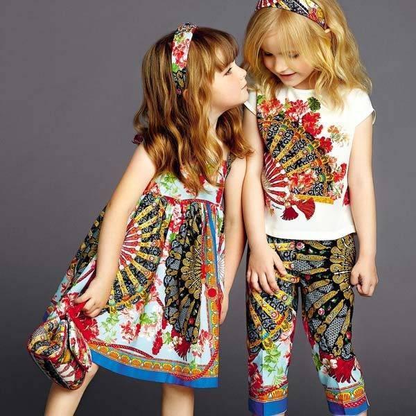 Dolce & Gabbana Girls Spanish Fan Print Short Sleeved Party Dress