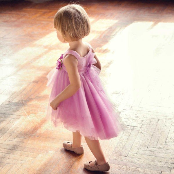 Aletta Girls Pink Tulle Dress with Flowers